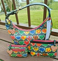 Dooney amp; Bourke 🌈 Crayon Hearts Hobo Small Bucket ❤️💚💛 Wallet amp; Coin Case $188.00