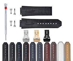 Leather Rubber Strap For 44-45-48mm Hublot Big Bang With Screws Driver + Buckle