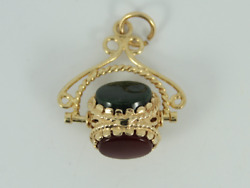 Vintage Agate Fob 9ct Gold Pocket Watch Albert Chain 375 4.4g Fe17
