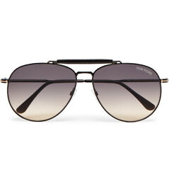 $540 TOM FORD Sean FT0536 01B Aviator Leather-Trimmed Gunmetal-Tone Sunglasses