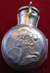 1890's British Sterling Silver Repousse Flask Perfume Bottle Holder Pendant 925