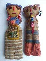 Vintage Large Peruvian Chancay Burial Grave Doll Folk Art - Set Of Two