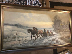 """Antique Painting Oil On Canvas Signed By G. Winkelberg 52 X 26"""""""