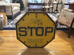 Rare Antique Original Thru Traffic Stop Sign With Cat Eyes Around And Stop Letter