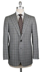New 6300 Cesare Attolini Gray Wool Plaid Suit - 38/48 - Ca89175