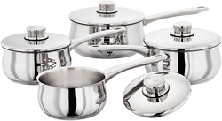 Stellar 1000 4 Piece Stainless Steel Sauce Pan Set Includes Lids Induction Ready