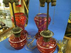 Antique Cranberry Pair Of French Victorian Oil Lamps Electrified