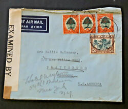 1942 South Africa To New York Ny And Plattsburgh Mo Airmail Cover