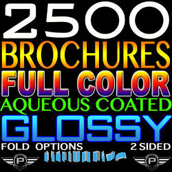 2500 Brochure 8.5x11 Full Color 2 Sided 8.5x11 100lb Thick Cover Stock Gloss