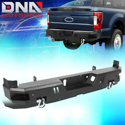 For 2017-2020 Ford F250 F350 Super Duty Rear Steel Step Bumper W/d-ring Shackles