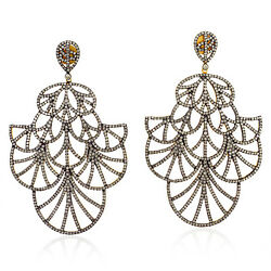 8.45ct Pave Diamond Gold 925 Sterling Silver Designer Dangle Earrings Jewelry