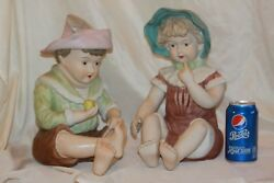 Vintage Large German Piano Babies Boy And Girl Bisque Porcelain Figurines 13 In