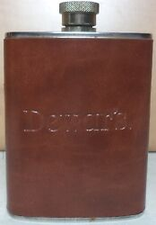 Dewar's Scotch Whisky Brown Leather And Steel Flask 3 Oz