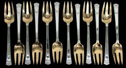 And Co San Lorenzo 12 Sterling Silver Gold Wash 3 Tine 7 Salad Fork