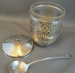Antique Watson Sterling Silver Mustard/jelly/jam/sugar W75 Spoon And Glass Insert