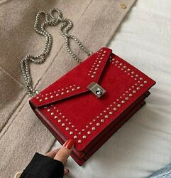 Scrub Leather Small Shoulder Messenger Bags For Women 2020 Chain Rivet Lock $19.99