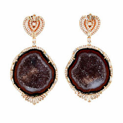 2.7ct Pave Diamond 18k Rose Gold Geode Dangle Earrings Women Jewelry For Gift