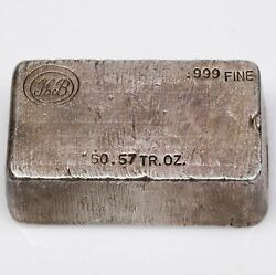 Vintage Poured Silver Kb Stamped 50.57 Tr Oz Troy Ounce Bar
