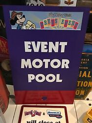 Rare Walt Disney Event Motor Pool Sign Press Event Actually Used At Wdw