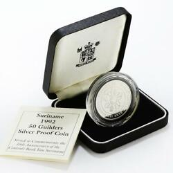 Suriname 50 Guilders 35th Anniversary Of Centrale Bank Proof Silver Coin 1992