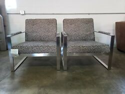 Pair Of Accent Pewter Finish Arm Chairs With Leopard Print Fabric