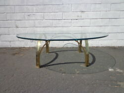 Gold Brass Coffee Table Hollywood Regency Milo Baughman Style Glass Accent Mid