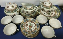 Vintage Made In China Hand Painted Enameled Porcelain 24 Pieces Set New Rare