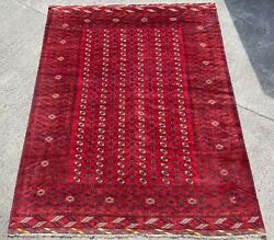 Antique Yamut Carpet, Hand Made Tekke Turkoman Red Gul Rug 13ft X 10ft Cleaned