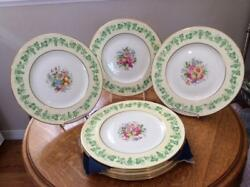 Wedgwood Bone China Hand Painted Eight 11 Service Plates Grapes And Flowers