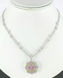 18k White Gold Pink Yellow Sapphire Round Diamond Pendant 15and039and039 Choker Necklace