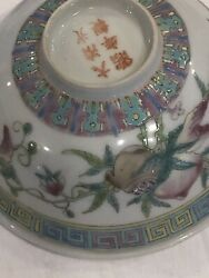 Antique Chinese 5 Famile Rose Enameled Peach And Pomegranate Bowls Republic Per