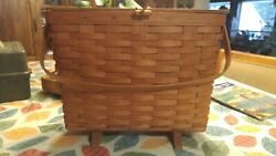 1992 Longaberger Magazine Basket 2100w0 Footed Single Handle W/liner And Paper