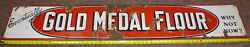 Vintage 5and039 X 10 Gold Medal Flour Porcelain Advertising Sign Rare Piece Look