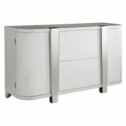 Entryway Console Table Wood Metal High Gloss 2 Door Foyer Cabinet Stand Drawers