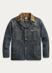 Rrl Indigo Roughout Suede Barn Jacket Coat New With Tags Size L