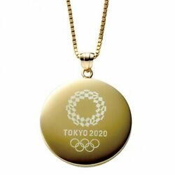 Tokyo 2020 Olympic Emblem Gold Pendant Round Design W/chain Official Goods