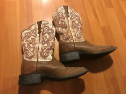 ARIAT Cowboy Boots Womens Size 7.5 B Square Toe Brown Western Designs