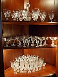 65 Pieces Waterford Crystal Tramore Pattern Collection Decanter + 64 Glasses
