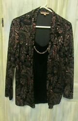 Notations Top & Cami Top W Necklace- Size 1X - Black W Pink Sparkle Designs