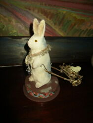 Very Old Candy Container Easter Rabbit With Wagon - Chicktinsel - Germany