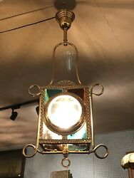 "Antique Victorian Fancy Brass Hall Light BeveledStained Glass 36"" X 15"" X 10"