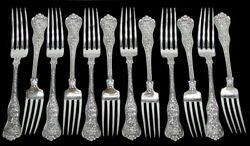 And Co Olympian 12 Sterling Silver 7 7/8 Dinner Forks Mono
