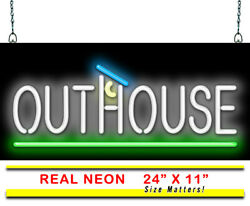 Outhouse Neon Sign   Jantec   24 X 11   Bathroom Restroom Rustic Campground