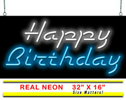 Happy Birthday Neon Sign |jantec |32 X 16 | Party Special Occasion Store Decor