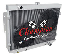 4 Row Discount Champion Radiator W/ 2 12 Fans For 1974 Dodge Charger V8 Engine