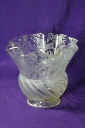 Antique Glass Gas Light Shade With Etched Birds
