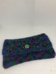 Felted Clutch Wool Felt Hand Purse decorated with Beads 10.5x6 inches Multicolor $19.99
