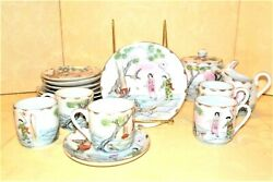 Japanese Porcelain Vintage Tea Pot Creamer 5 Cup Saucer And Plates Hand Painted
