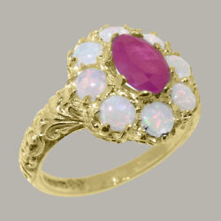 Solid 18k Yellow Gold Natural Ruby And Opal Womens Cluster Ring - Sizes 4 To 12