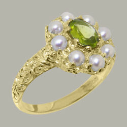 Solid 18k Yellow Gold Natural Peridot And Pearl Womens Cluster Ring-sizes 4 To 12